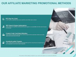 Our Affiliate Marketing Promotional Methods Ppt Powerpoint Presentation Show
