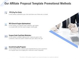 Our Affiliate Proposal Template Promotional Methods Ppt Slides