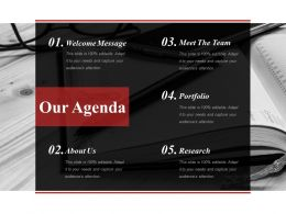 Our Agenda Sample Presentation Ppt