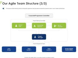 Our Agile Team Structure Project Ppt Powerpoint Presentation Outline Clipart Images