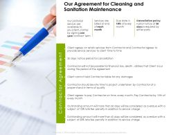 Our Agreement For Cleaning And Sanitation Maintenance Ppt Powerpoint Presentation File