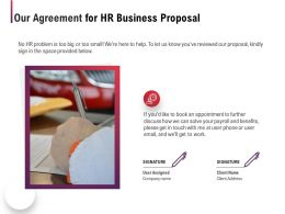 Our Agreement For HR Business Proposal Ppt Powerpoint Presentation Pictures Clipart