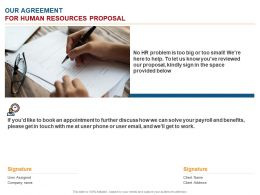 Our Agreement For Human Resources Proposal Ppt Powerpoint Presentation Model