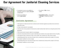 Our Agreement For Janitorial Cleaning Services Ppt Powerpoint Presentation Show Picture
