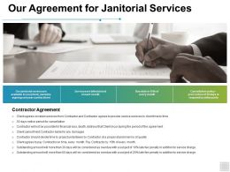 Our Agreement For Janitorial Services Agenda Ppt Powerpoint Presentation Icon Ideas
