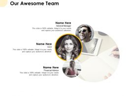 Our Awesome Team Introduction F391 Ppt Powerpoint Presentation Pictures Graphics