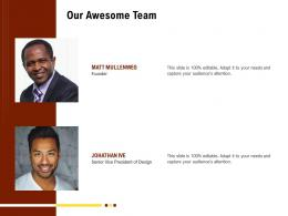 Our Awesome Team Rethinking Capital Structure Decision Ppt Powerpoint Presentation Ideas Vector
