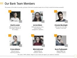 Our Bank Team Members Arche Kliein Ppt Powerpoint Presentation Infographics Good