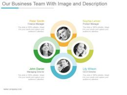 Our Business Team With Image And Description Ppt Design Templates
