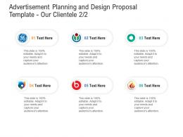 Our Clientele Advertisement Planning And Design Proposal Template Ppt Powerpoint Slides Portrait