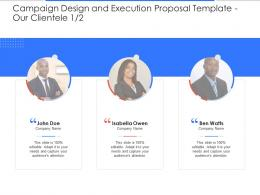 Our Clientele Communication Campaign Design And Execution Proposal Template Ppt Background