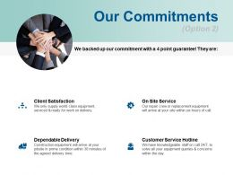 Our Commitments Dependable Delivery Ppt Powerpoint Presentation Model