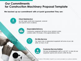 Our Commitments For Construction Machinery Proposal Template Ppt Powerpoint Presentation Model Template