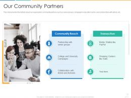 Our Community Partners Donors Fundraising Pitch Ppt Microsoft