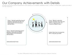 Our Company Achievements With Details Pitch Deck Raise Debt IPO Banking Institutions Ppt Guidelines