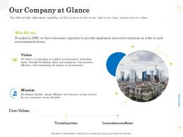 Our Company At Glance Clean Production Innovation Ppt Infographics Sample