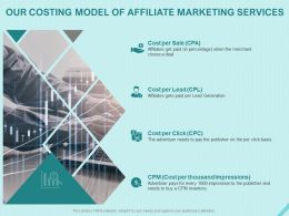 Our Costing Model Of Affiliate Marketing Services Ppt Powerpoint Presentation Inspiration