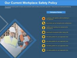 Our Current Workplace Safety Policy Safety Guideline Ppt Powerpoint Presentation Model Influencers