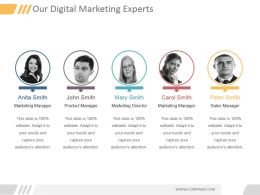 Our Digital Marketing Experts Powerpoint Slide Deck Samples