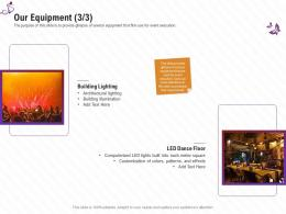 Our Equipment Architectural Lighting Stage Shows Management Firm Ppt Diagrams