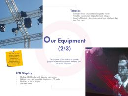 Our Equipment Display Ppt Powerpoint Presentation Icon Guide