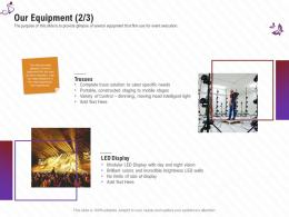 Our Equipment Specific Needs Stage Shows Management Firm Ppt Mockup