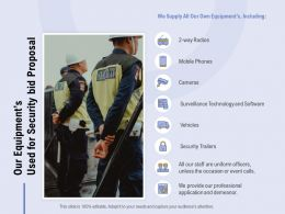 Our Equipments Used For Security Bid Proposal Ppt Powerpoint Presentation Infographic