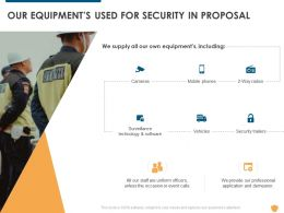Our Equipments Used For Security In Proposal Ppt Powerpoint Presentation Portfolio Guidelines