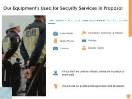 Our Equipments Used For Security Services In Proposal Ppt Powerpoint Presentation Professional Grid