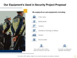 Our Equipments Used In Security Project Proposal Ppt Powerpoint Presentation Show