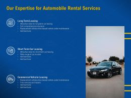 Our Expertise For Automobile Rental Services Wide Range Ppt Powerpoint Presentation Rules