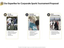 Our Expertise For Corporate Sports Tournament Proposal Ppt Powerpoint Elements