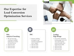 Our Expertise For Lead Conversion Optimization Services Ppt Outline