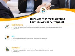 Our Expertise For Marketing Services Advisory Proposal Ppt File Elements