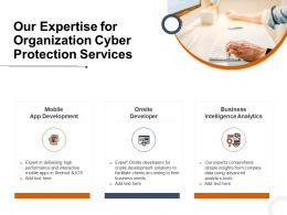 Our Expertise For Organization Cyber Protection Services Ppt Powerpoint Presentation Ideas