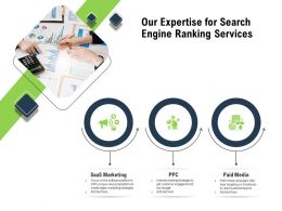 Our Expertise For Search Engine Ranking Services Paid Media Ppt Powerpoint Presentation Designs
