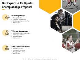 Our Expertise For Sports Championship Proposal Ppt Powerpoint Presentation Deck