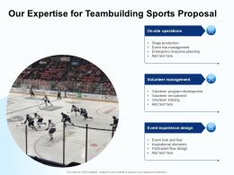 Our Expertise For Teambuilding Sports Proposal Ppt Powerpoint Presentation File Pictures