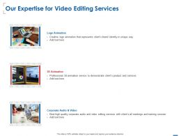 Our Expertise For Video Editing Services Ppt Powerpoint Presentation Ideas Guidelines