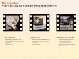 Our Expertise Video Editing For Company Promotion Services Ppt Ideas