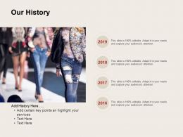 Our History 2016 To 2019 Ppt Powerpoint Presentation File Structure