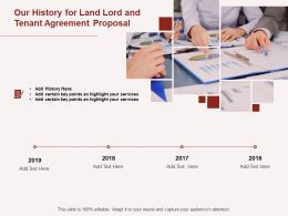 Our History For Land Lord And Tenant Agreement Proposal Ppt Powerpoint Presentation Introduction