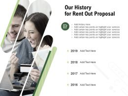 Our History For Rent Out Proposal Ppt Powerpoint Presentation Outline Objects