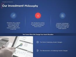 Our Investment Philosophy Finance Ppt Powerpoint Presentation Model Deck