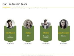 Our Leadership Team Executive Director Ppt Powerpoint Presentation Topics