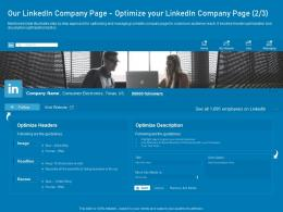 Our Linkedin Company Pageoptimize Your Linkedin Company Page Business Marketing Using Linkedin