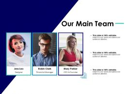 Our Main Team Designer Financial Manager Ceo And Founder