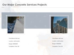 Our Major Concrete Services Projects Ppt Powerpoint Presentation Infographic Template Ideas