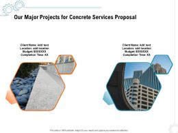 Our Major Projects For Concrete Services Proposal Ppt Powerpoint Presentation Model Format