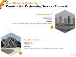 Our Major Projects For Construction Engineering Services Proposal Ppt Powerpoint Presentation Portfolio Template